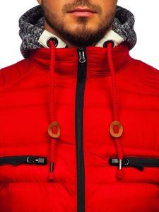 Kurtka męska przejściowa sportowa pikowana czerwona Denley 50A93