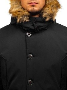Kurtka męska zimowa parka czarna Denley 4668