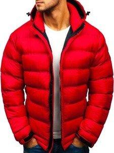 Kurtka męska zimowa sportowa pikowana czerwona Denley AB63