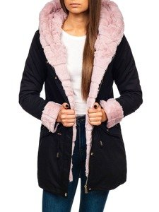 Kurtka zimowa damska 2w1 czarno-różowa Denley 5202