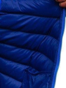 Niebieska pikowana kamizelka męska z kapturem Denley HDL88004