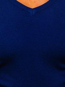 Niebieski sweter męski w serek Denley YY03