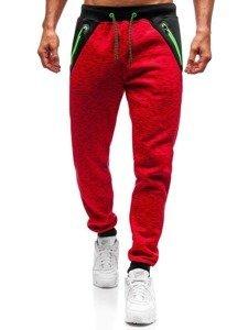 Spodnie dresowe męskie czerwone Denley 55038
