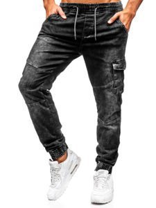Spodnie jeansowe joggery męskie czarne Denley  KA686-4