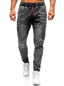 Spodnie jeansowe joggery męskie czarne Denley KK1066