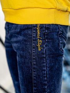 Spodnie jeansowe joggery męskie granatowe Denley HY562