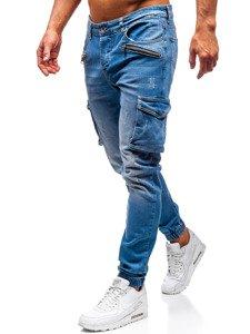Spodnie jeansowe joggery męskie niebieskie Denley 3002