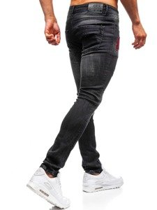 Spodnie jeansowe męskie skinny fit czarne Denley 9239