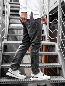Spodnie jeansowe męskie straight leg czarne Denley KX190