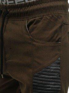 Spodnie joggery męskie brązowe Denley 0706