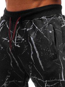 Spodnie męskie dresowe czarne Denley 55068