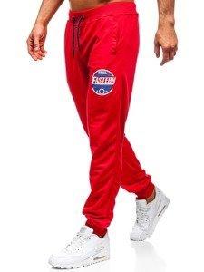 Spodnie męskie dresowe czerwone Denley MK05