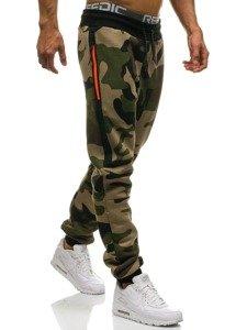Spodnie męskie dresowe joggery moro-zielono-pomarańczowe Denley 0801
