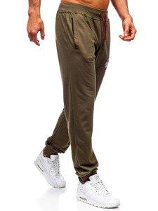 Spodnie męskie dresowe khaki Denley MK05
