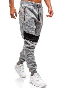 Spodnie męskie dresowe szare Denley TC880