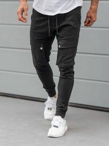Spodnie męskie joggery bojówki czarne Denley 1003