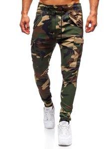 Spodnie męskie joggery bojówki moro-khaki Denley 1005