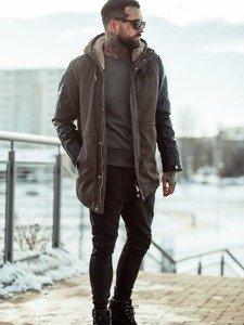 Stylizacja nr 116 - kurtka zimowa, bluza bez kaptura, spodnie joggery, buty