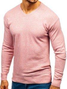 Sweter męski w serek różowy Bolf 6002