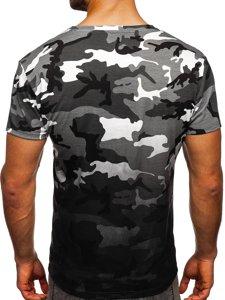 Szary t-shirt męski z nadrukiem moro Denley S808