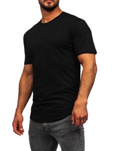 T-shirt długi męski bez nadruku czarny Bolf 14290