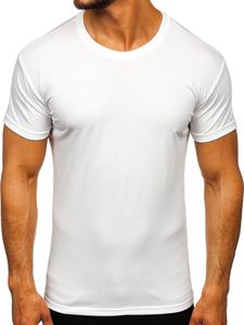 T-shirt męski bez nadruku biały Denley 2005