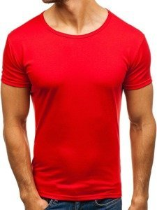 T-shirt męski bez nadruku czerwony Denley 2006