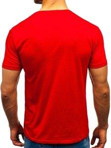T-shirt męski bez nadruku czerwony Denley 9001-1