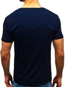 T-shirt męski bez nadruku granatowy Denley 9001