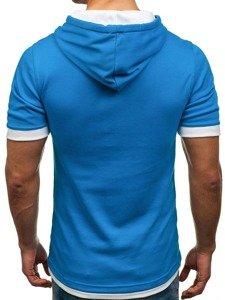 T-shirt męski bez nadruku niebieski Bolf 08
