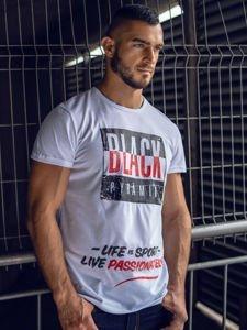 T-shirt męski z nadrukiem biały Denley 100683