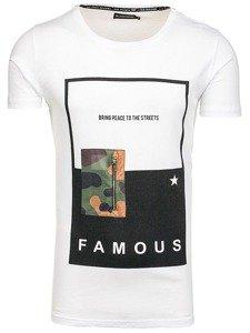 T-shirt męski z nadrukiem biały Denley 1014
