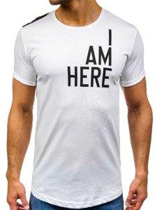 T-shirt męski z nadrukiem biały Denley 368-1
