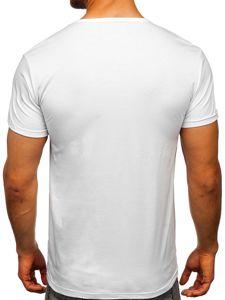 T-shirt męski z nadrukiem biały Denley KS1834