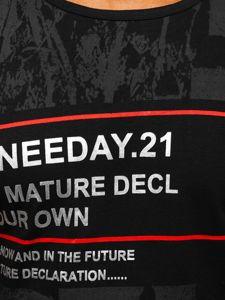 T-shirt męski z nadrukiem czarny Denley SS671