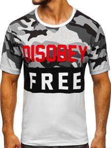 T-shirt męski z nadrukiem moro-biały Denley 6308