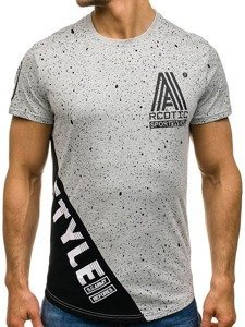 T-shirt męski z nadrukiem szary Denley s100