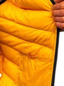 Żółta pikowana kamizelka męska z kapturem Denley HDL88004