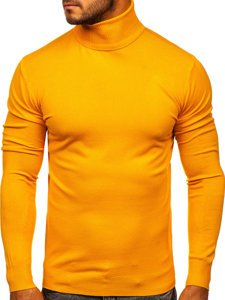 Żółty golf sweter męski bez nadruku Denley YY02